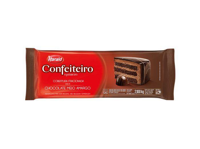 Barra de Chocolate fracionado Confeiteiro meio amargo 2,100kg Harald