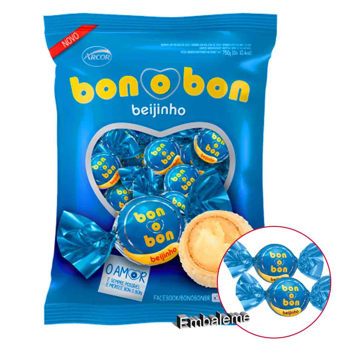 Bombom Arcor Beijinho Bonobom com 50 Unidades