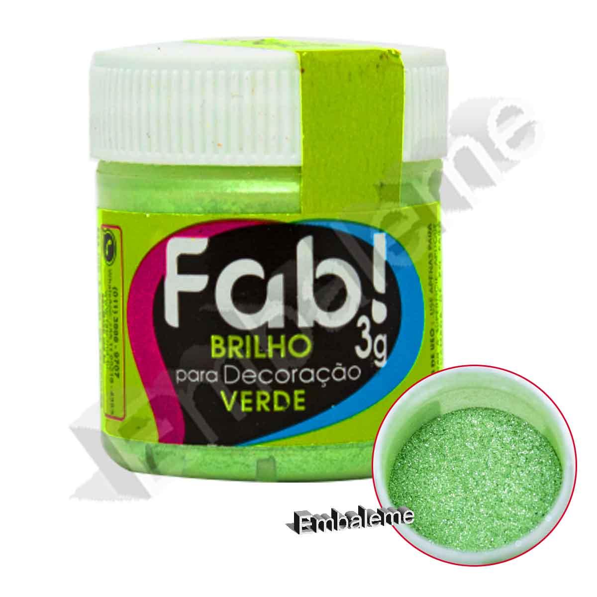 Brilho Para Decoração Verde 3g Fab