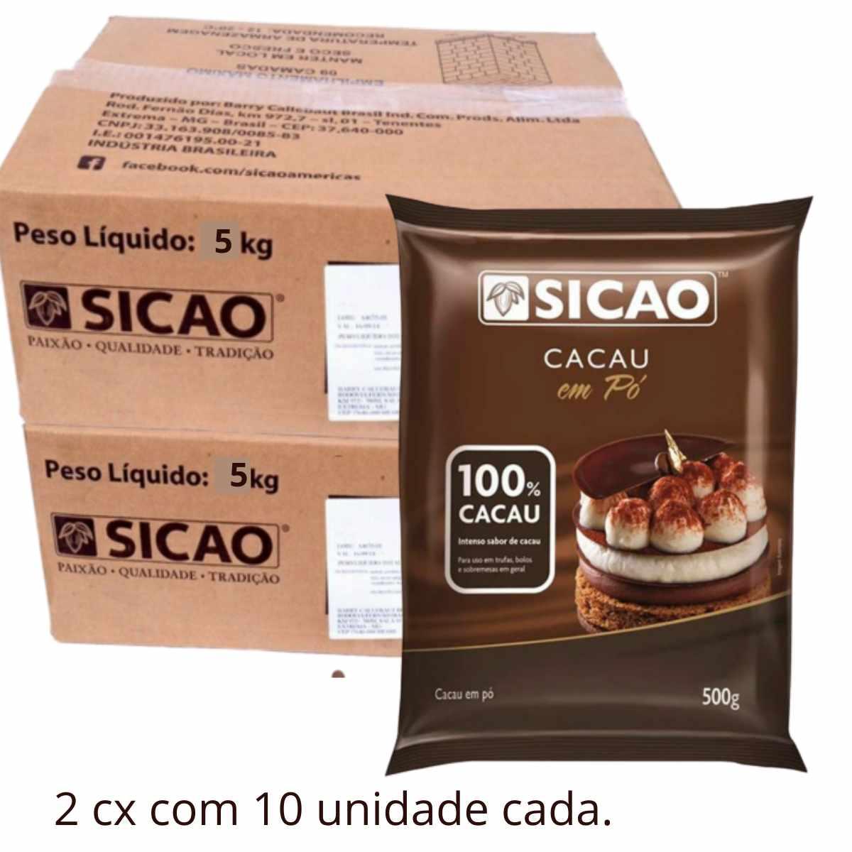 Cacau em Pó 100% 500g Sicao C/20