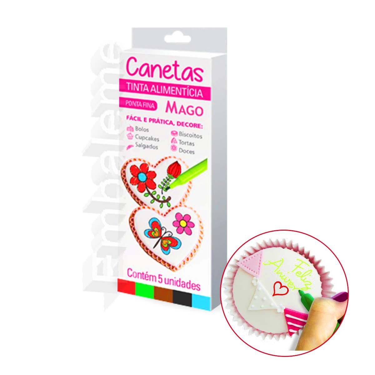 Caneta Tinta Alimentícia Para decorar Bolo com 5 Cores