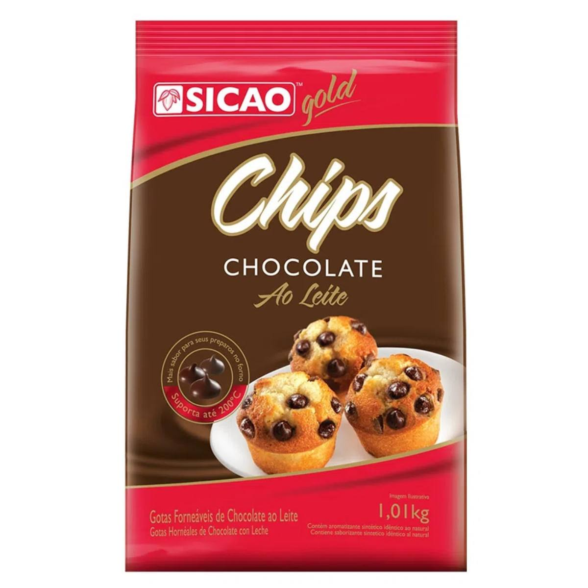 Chips Chocolate ao Leite Sicao Gold 1,01Kg