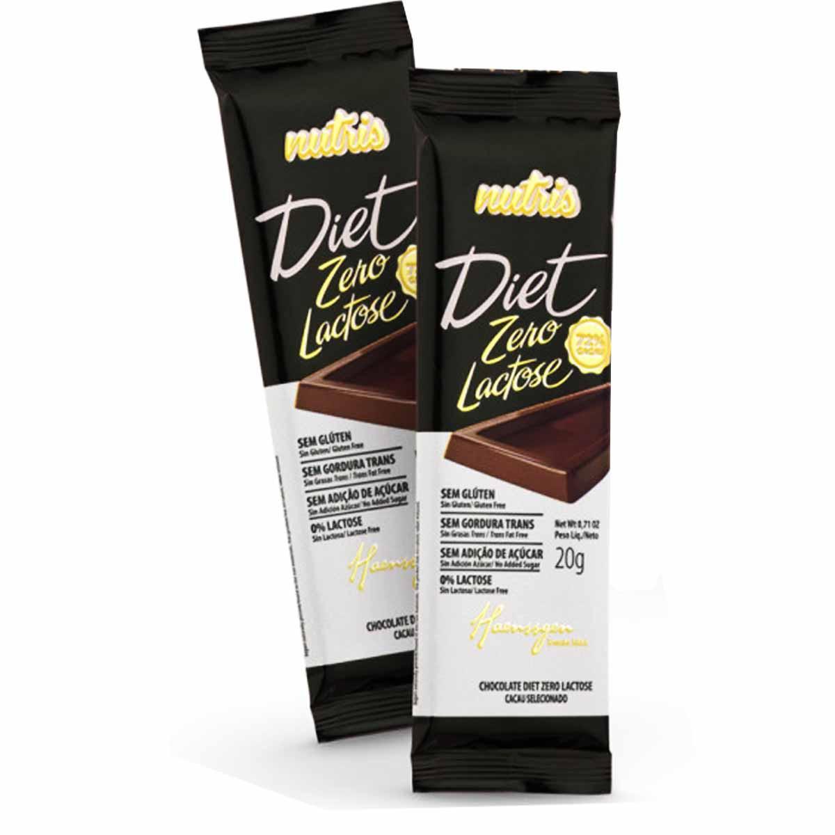 Chocolate Diet Zero Lactose 72% Cacau Caixa com 20 unidades 20G(Cada) Nutris