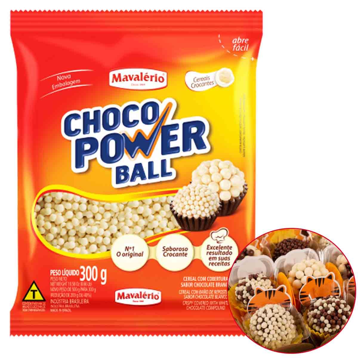 Choco Power Ball Mini Branco 300g Mavalério