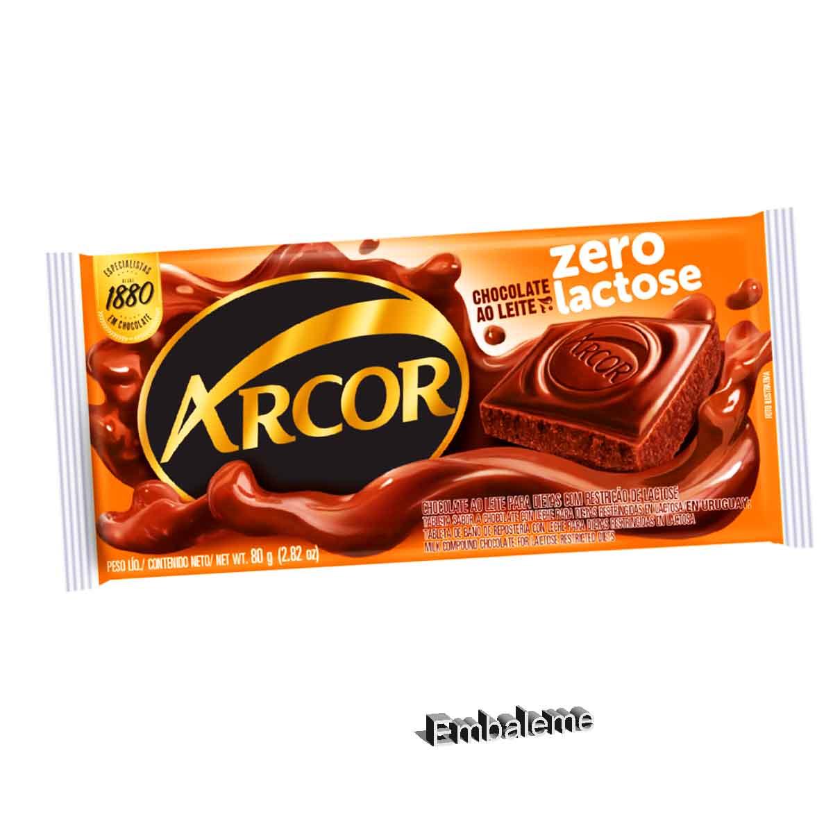 Chocolate Ao Leite Zero Lactose Barra Arcor 80g