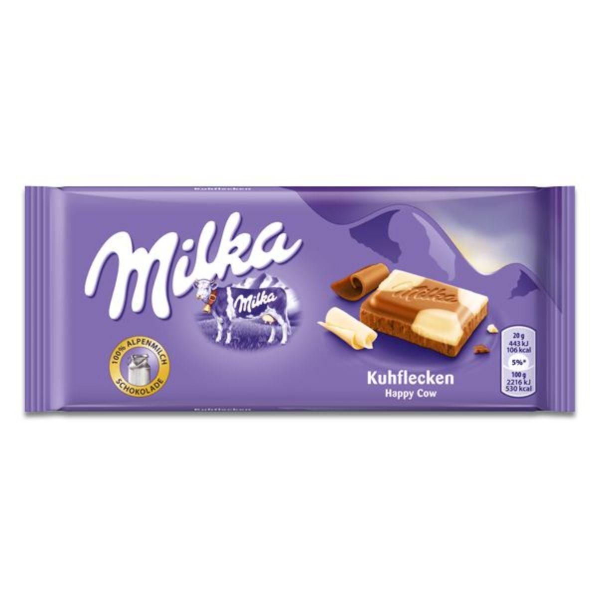Chocolate Barra Milka Happy Cows Ao leite e Branco 100g