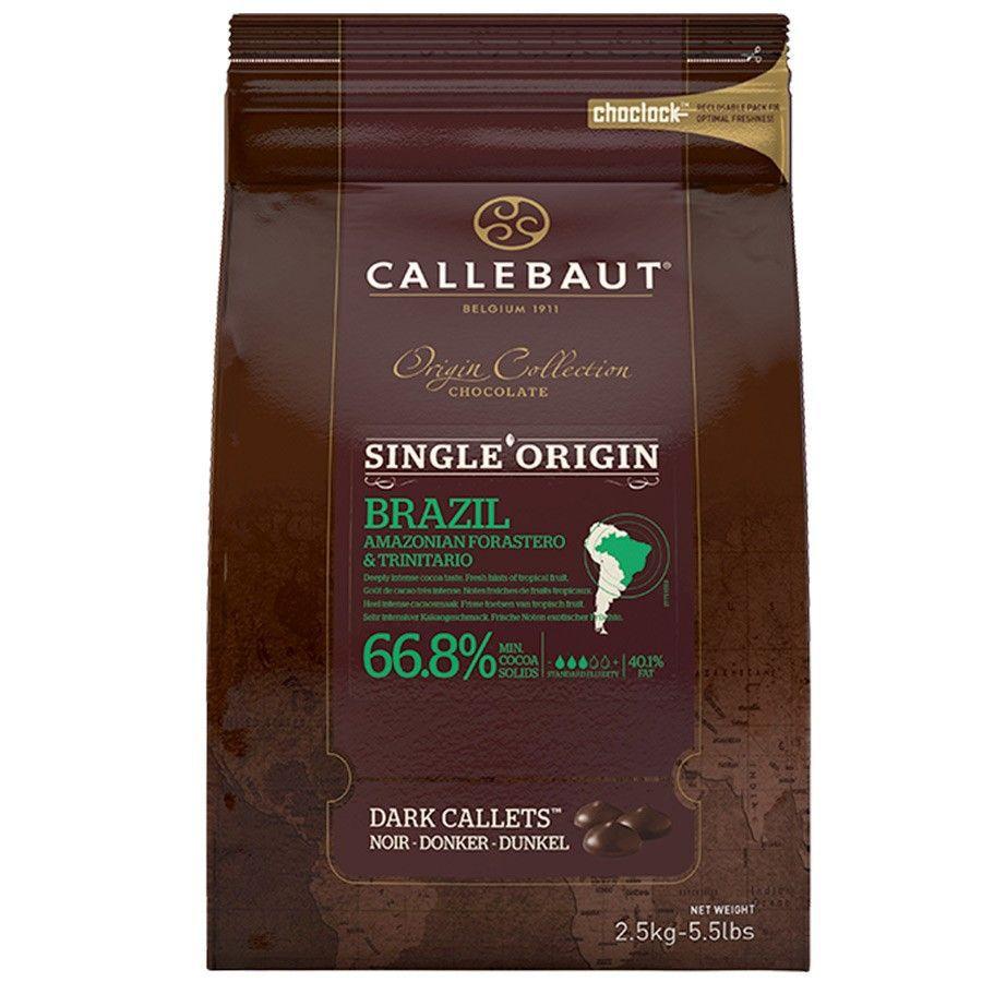 Chocolate Belga Amargo Callets SINGLE ORIGIN 66,8% Cacau MOEDA 2.5KG Callebaut