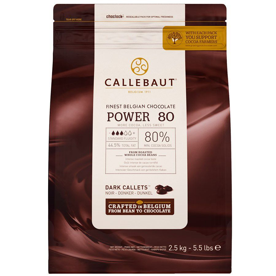 Chocolate Belga Amargo Power 80% Gotas 2,5kg Callebaut