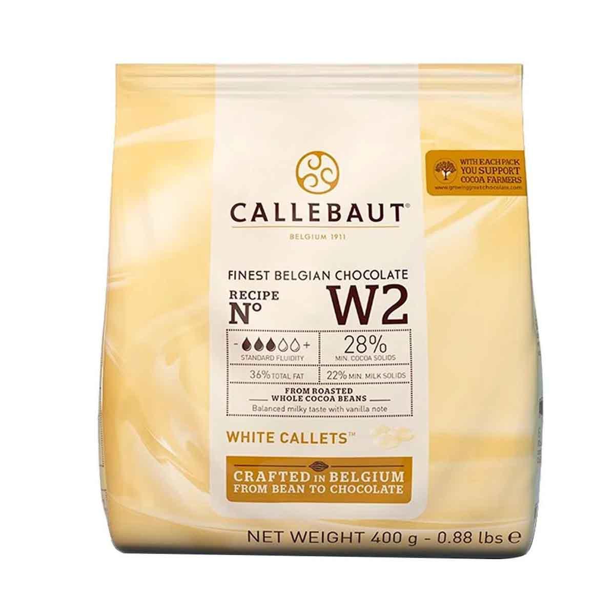Chocolate Belga Callets Branco Gotas W2 28% cacau 400g Callebaut
