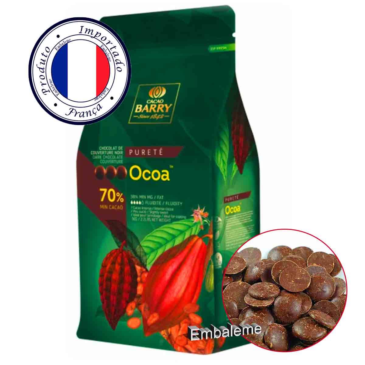 Chocolate Callebaut Amargo Ocoa 70% Cacau Gotas 1kg BARRY CALLEBAUT