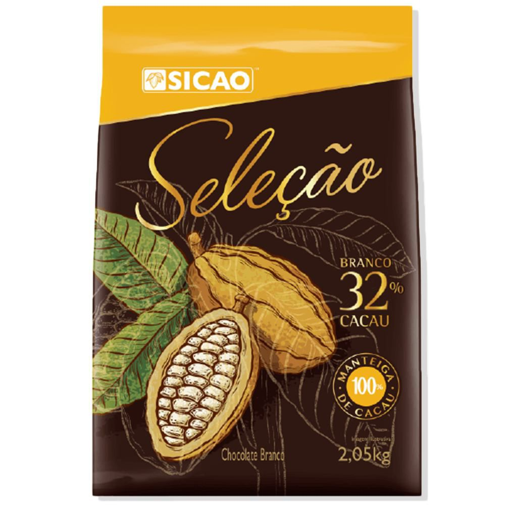 Chocolate Branco Seleção 32% cacau gotas 2,05kg Sicao