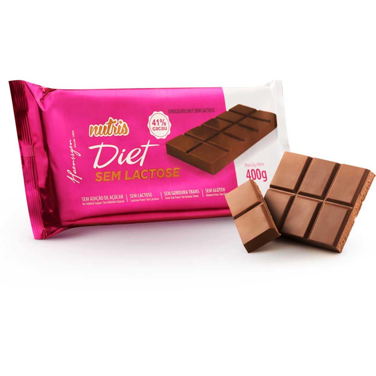 Chocolate Diet Zero Lactose 41% Cacau 400G NUTRIS