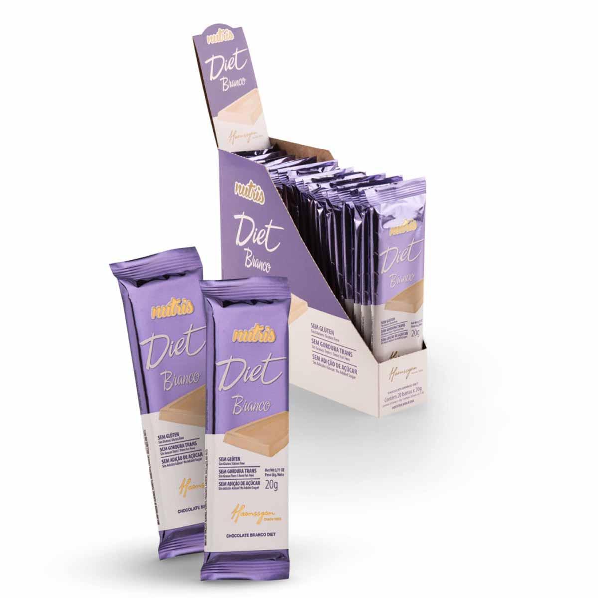 Chocolate Diet Zero Lactose Branco Caixa com 20 unidades 20G(Cada) Nutris