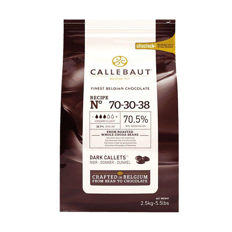 Chocolate Belga Callets  Amargo 70-30-38 70,5% cacau 2,5kg  gotas Callebaut