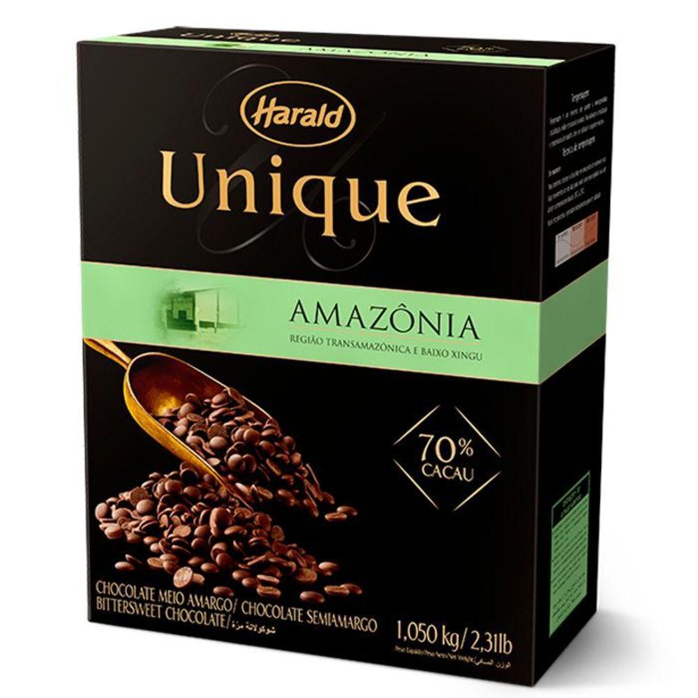Chocolate Meio Amargo 70% Cacau  Amazônia 1,05kg Unique Harald