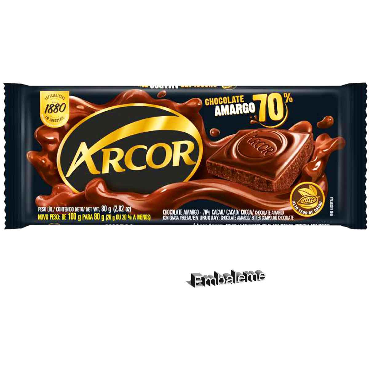 Chocolate Meio Amargo Barra Arcor 70% 80g
