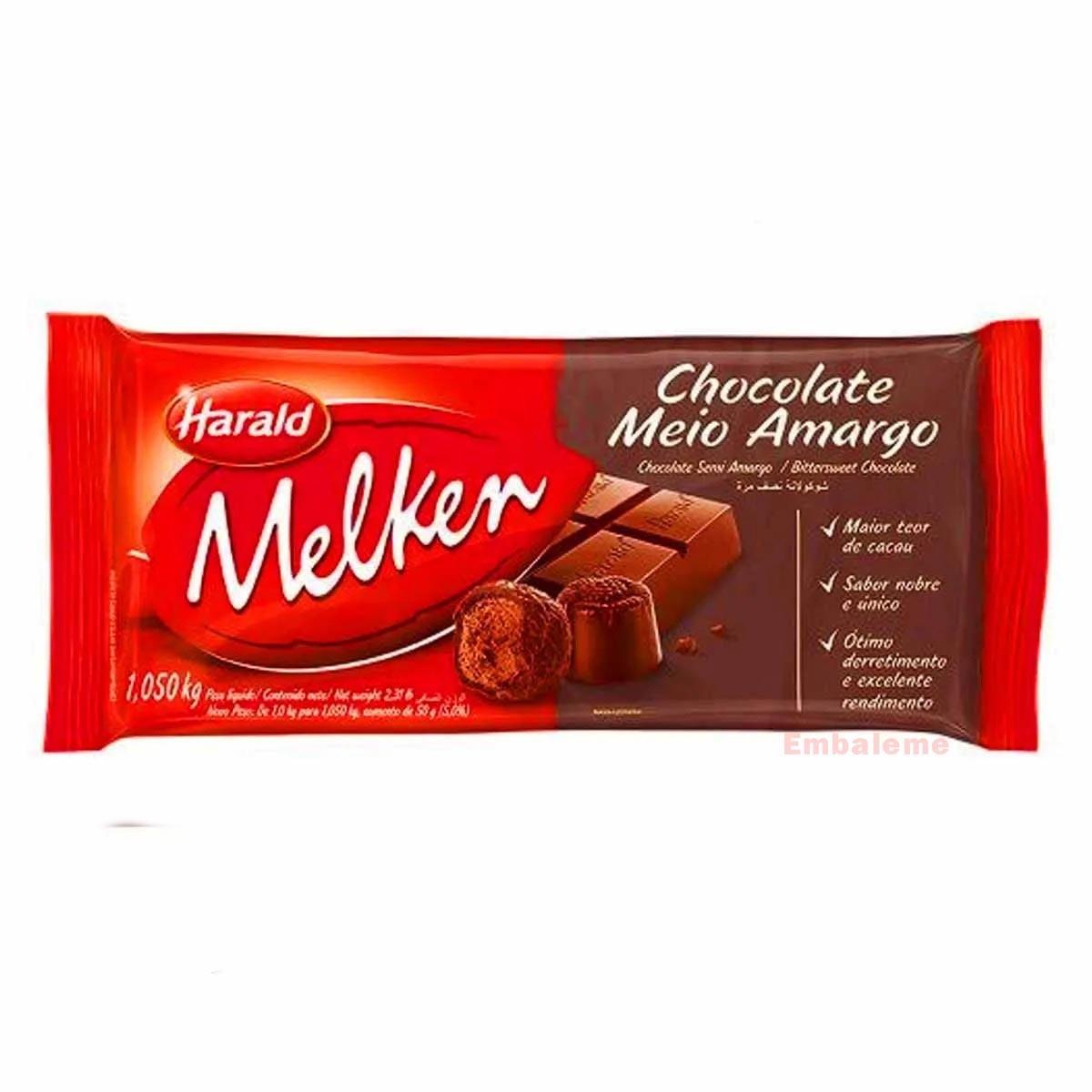 chocolate nobre meio amargo 1,05kg Melken Harald