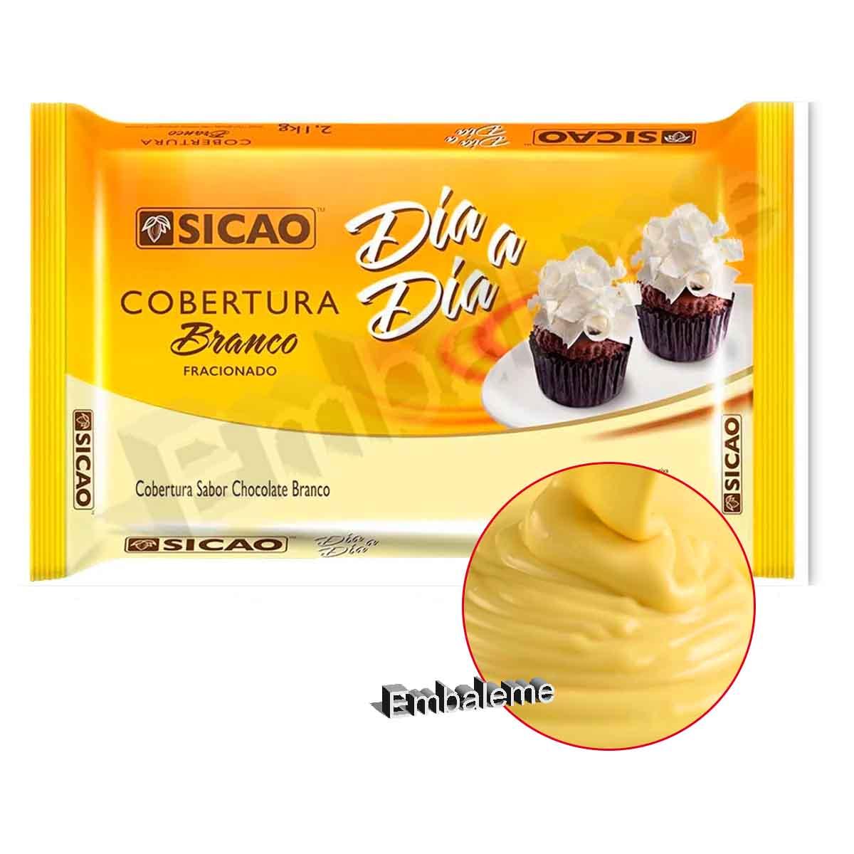 Chocolate Para Cobertura Fracionado Branco Sicao Barra 2,1KG Dia a Dia ILWBL201