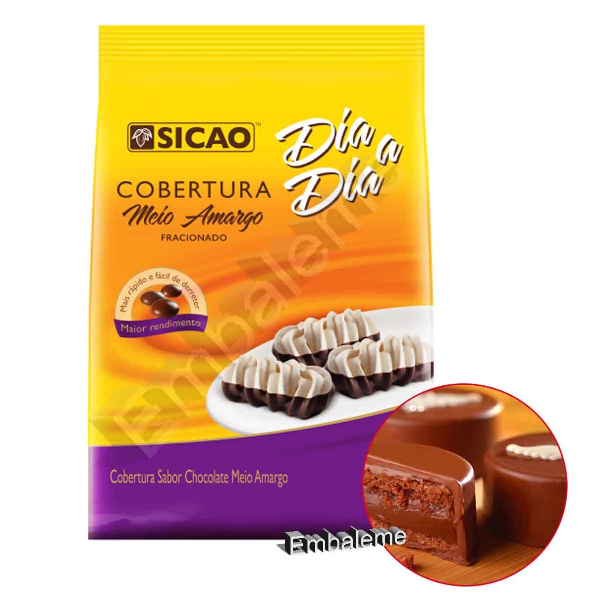Chocolate Para Cobertura Fracionado Meio Amargo Sicao Gotas  2,05KG Dia a Dia
