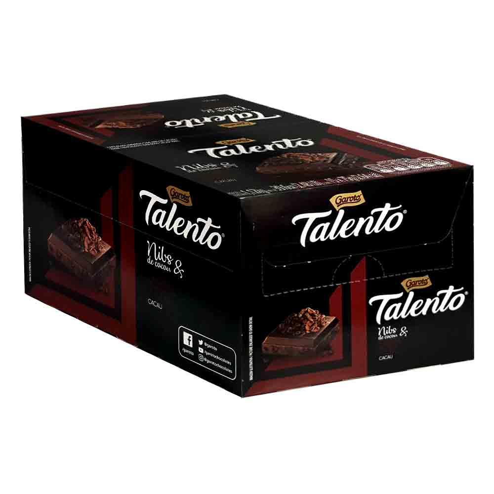 Chocolate Talento Nibs DARK 70% Cacau Caixa com 15 unidade de 75g (Cada)