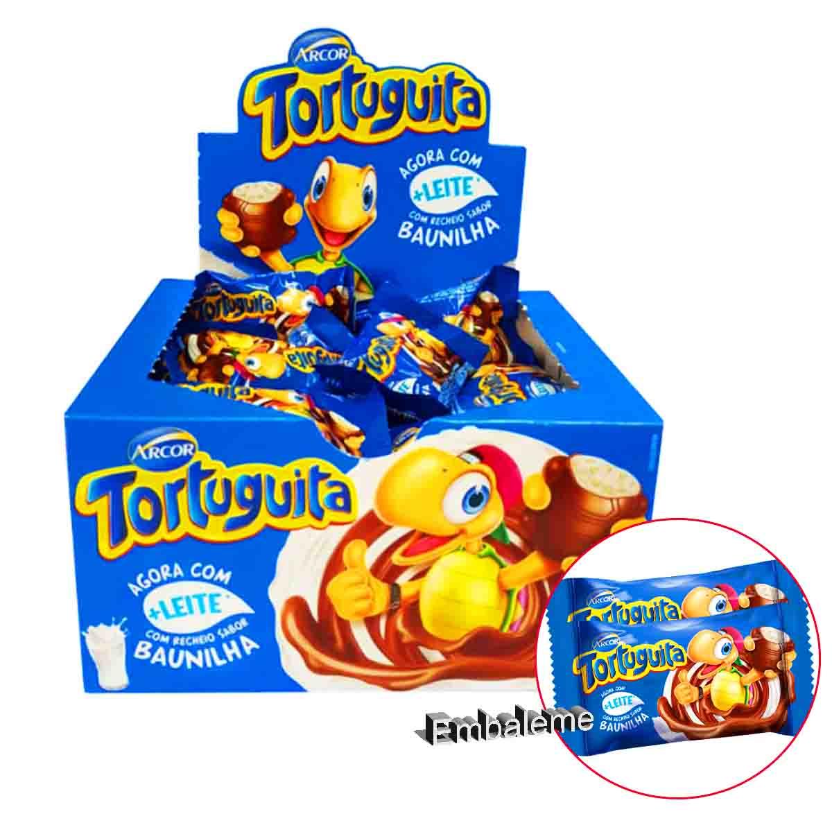 Chocolate Tortuguita  + Leite com Recheio Sabor Baunilha Caixa C/24 unidades de 18g Cada