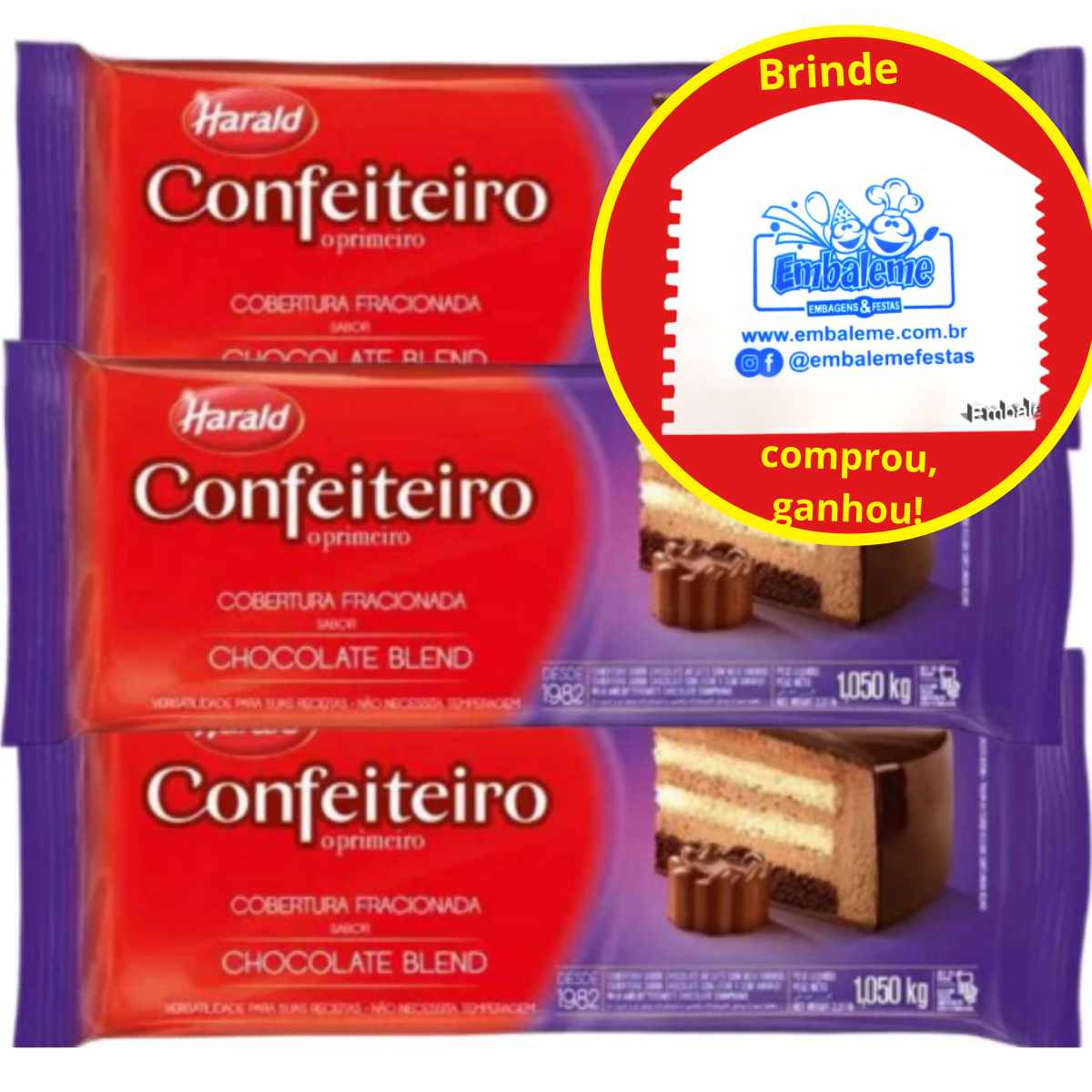 Cobertura Fracionada Harald Confeiteiro Blend 1kg C/3