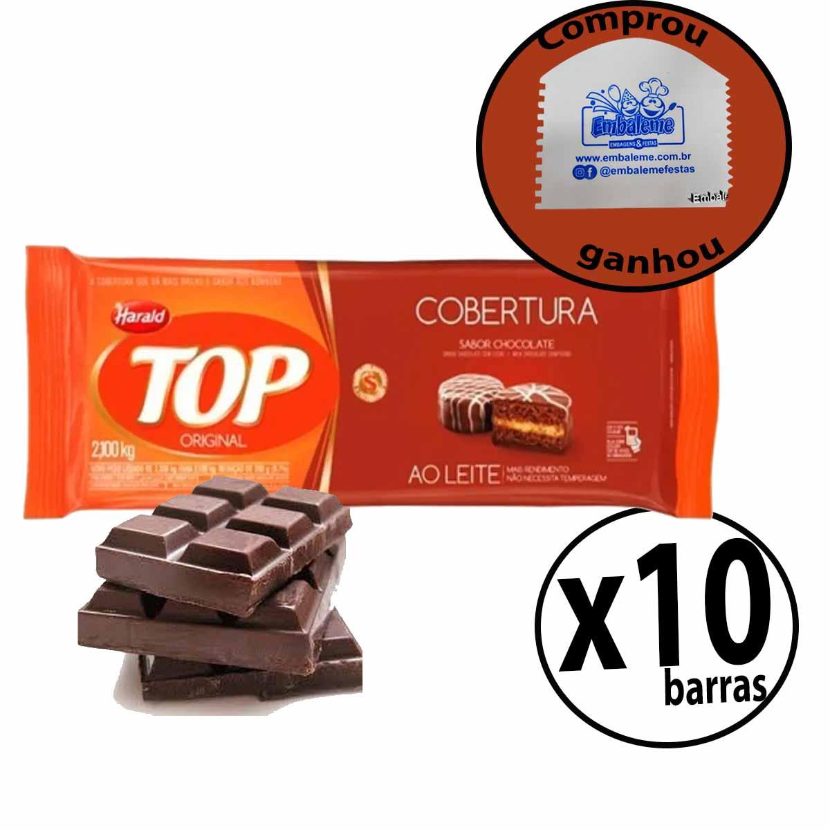 Cobertura Fracionada sabor Chocolate Ao Leite 2,1 kg Top Harald 10Un