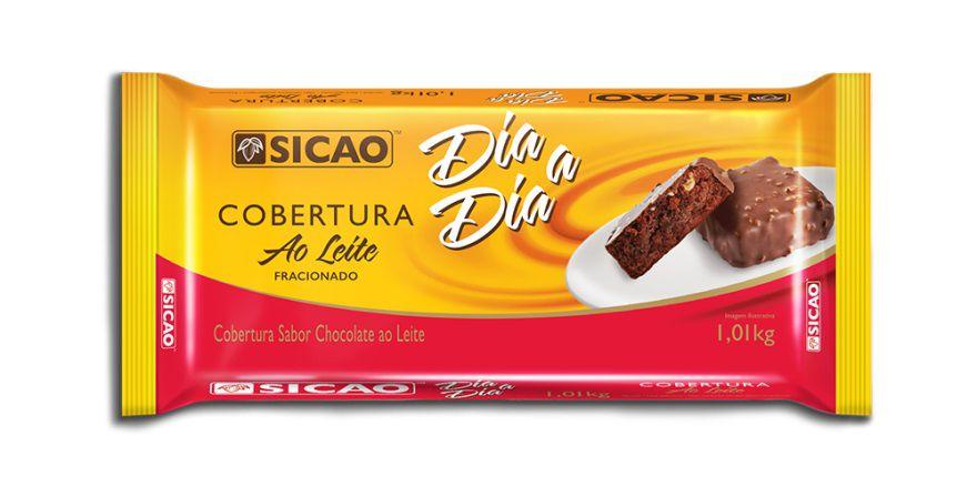Cobertura Fracionada sabor chocolate  Ao Leite  Barra  1,01kg Sicao Dia a Dia