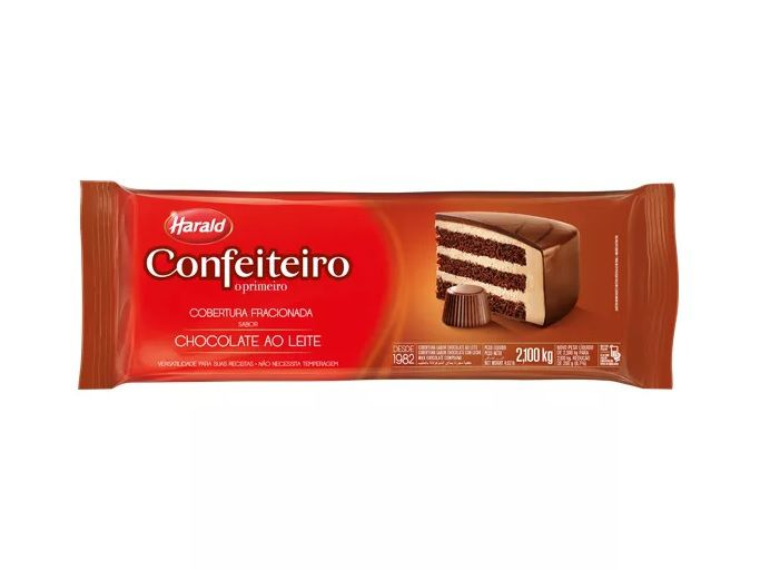 Cobertura Fracionada Sabor Chocolate ao Leite Barra 2,1 kg Confeiteiro Harald