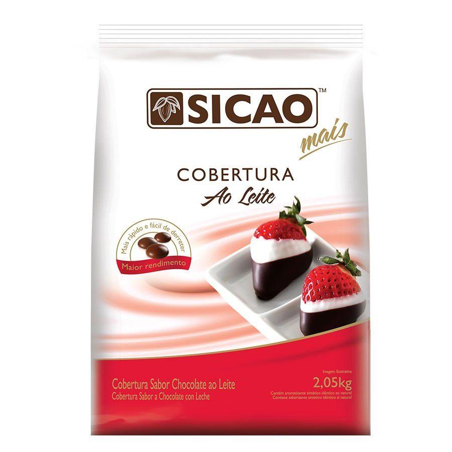 Cobertura Fracionada sabor chocolate ao leite gotas 2,05kg Sicao Mais