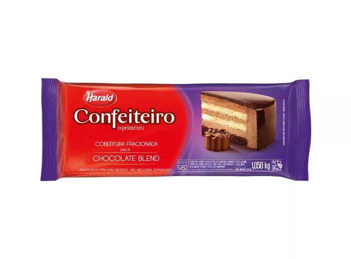 Cobertura Fracionada sabor chocolate Blend Barra 1kg Confeiteiro Harald