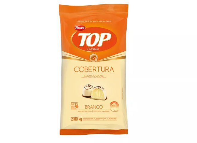 Cobertura Fracionada sabor Chocolate  Branco Gotas 2,1 kg Top Harald