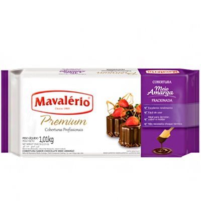 Cobertura Fracionada sabor Chocolate Meio Amargo  1,01kg Mavalério Premium