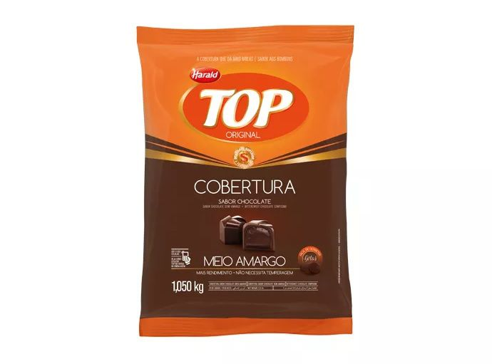 Cobertura Fracionada sabor chocolate Meio Amargo Gotas 1,05 kg Top Harald