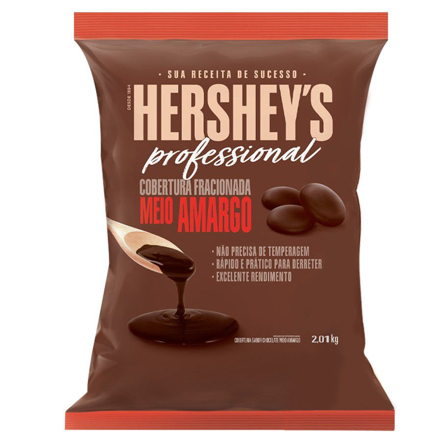 Cobertura Fracionada sabor Chocolate  Meio Amargo Moeda 2,01kg Hershey's Professional