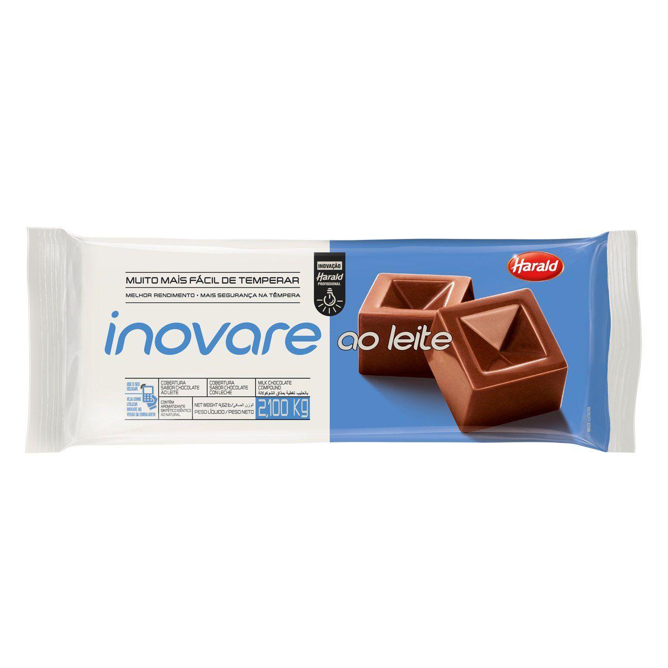 Cobertura sabor Chocolate ao Leite Barra 2,1 kg Inovare  Harald