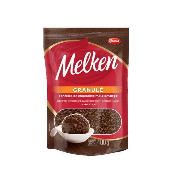 Confeito de Chocolate Meio Amargo  400 g Granulé Melken Harald