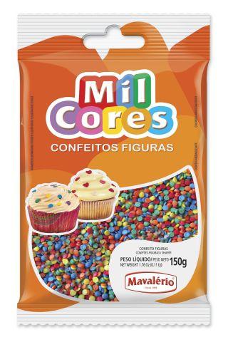 Confeito Figura Mini Confete Mil cores Mavalerio 150g