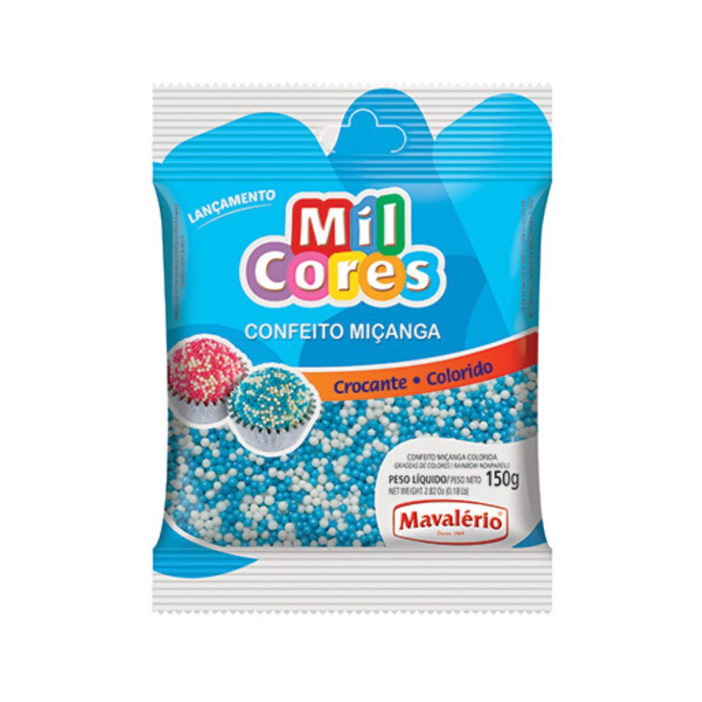 Confeito Miçanga Branca/ Azul N°0 150g Mil Cores