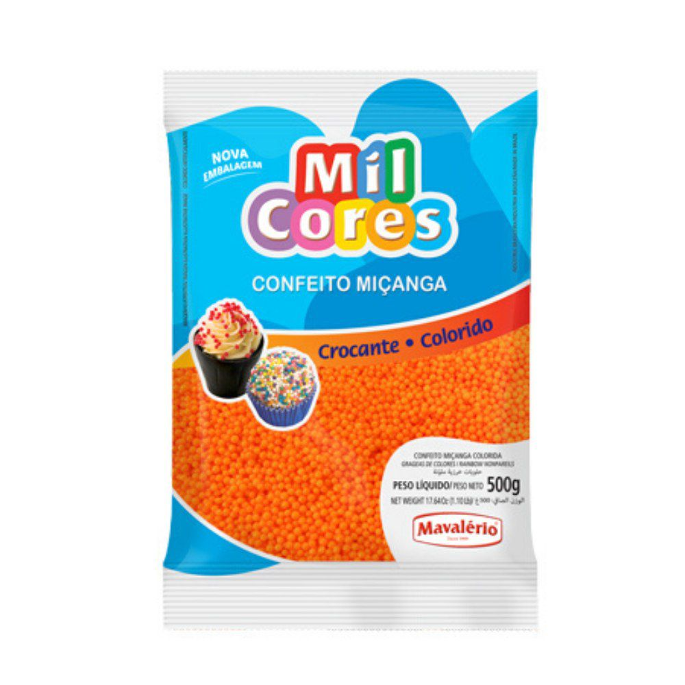 Confeito Miçanga Laranja N°0 500g Mil Cores