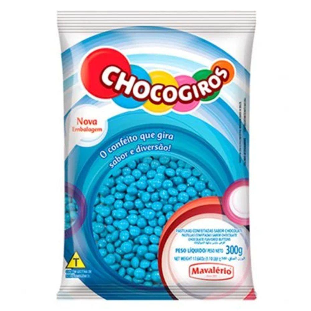 Confete Mini Pastilhas Azul Chocogiros 300g Mavalério