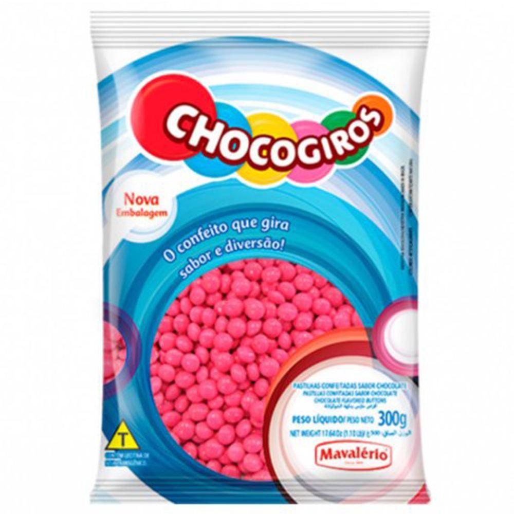 Confete Mini Pastilhas Rosa Chocogiros 300g Mavalério