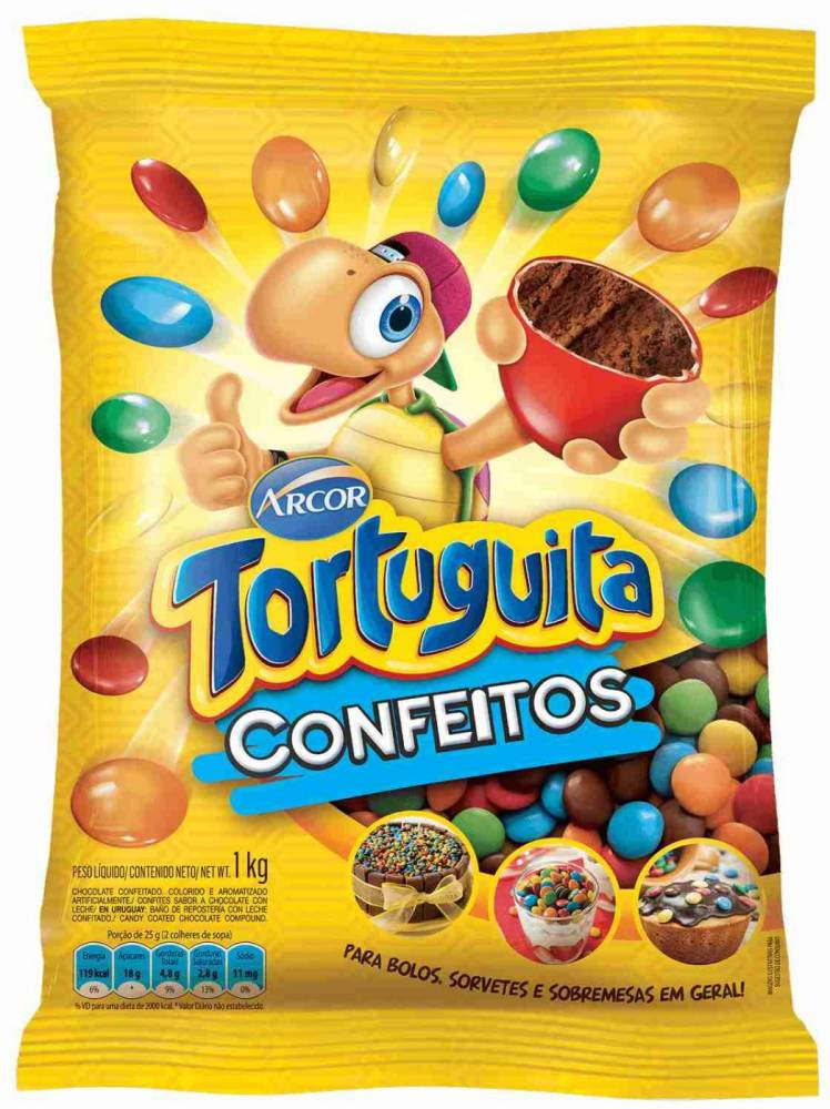 Confete Tortuguita Arcor 1kg Confeitos coloridos