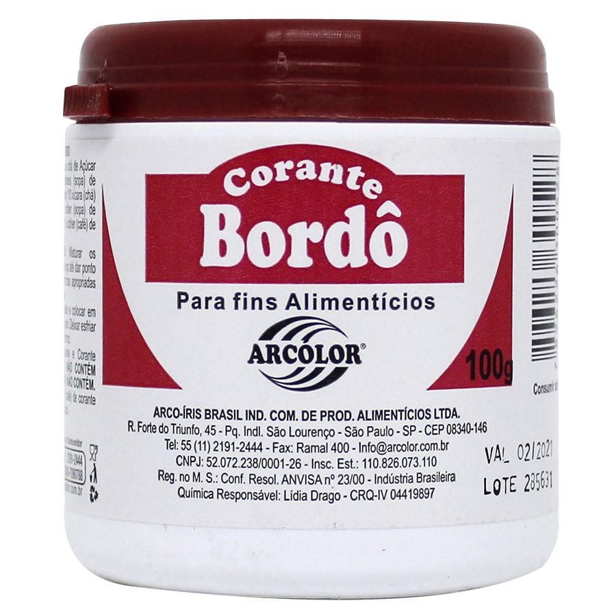 Corante alimentício em pó Bordô 100g Arcolor