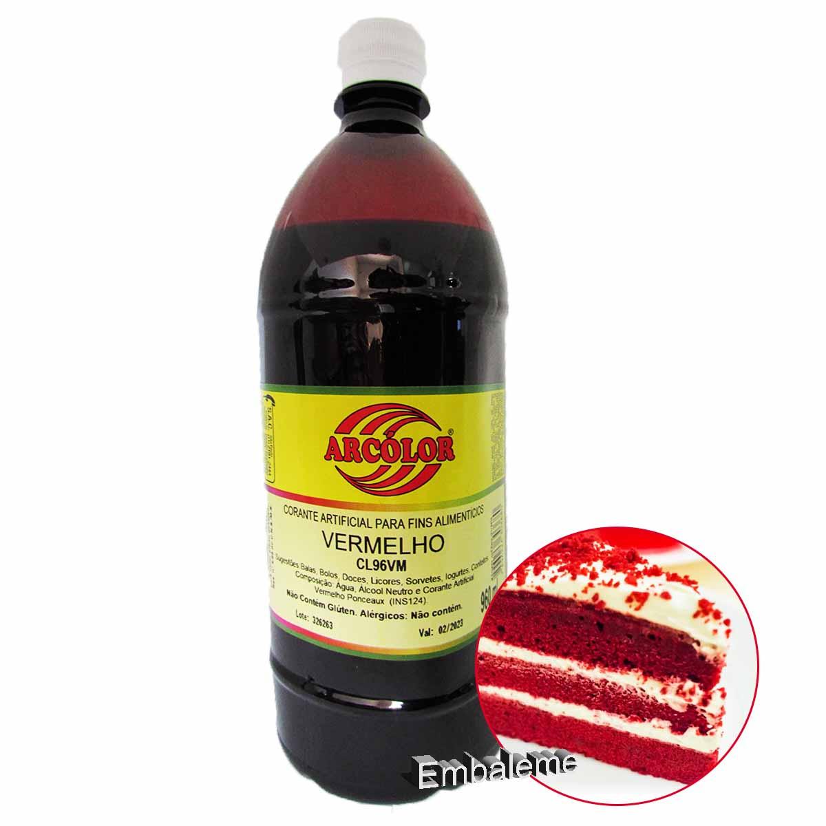Corante alimentício líquido Vermelho 960ml Arcolor
