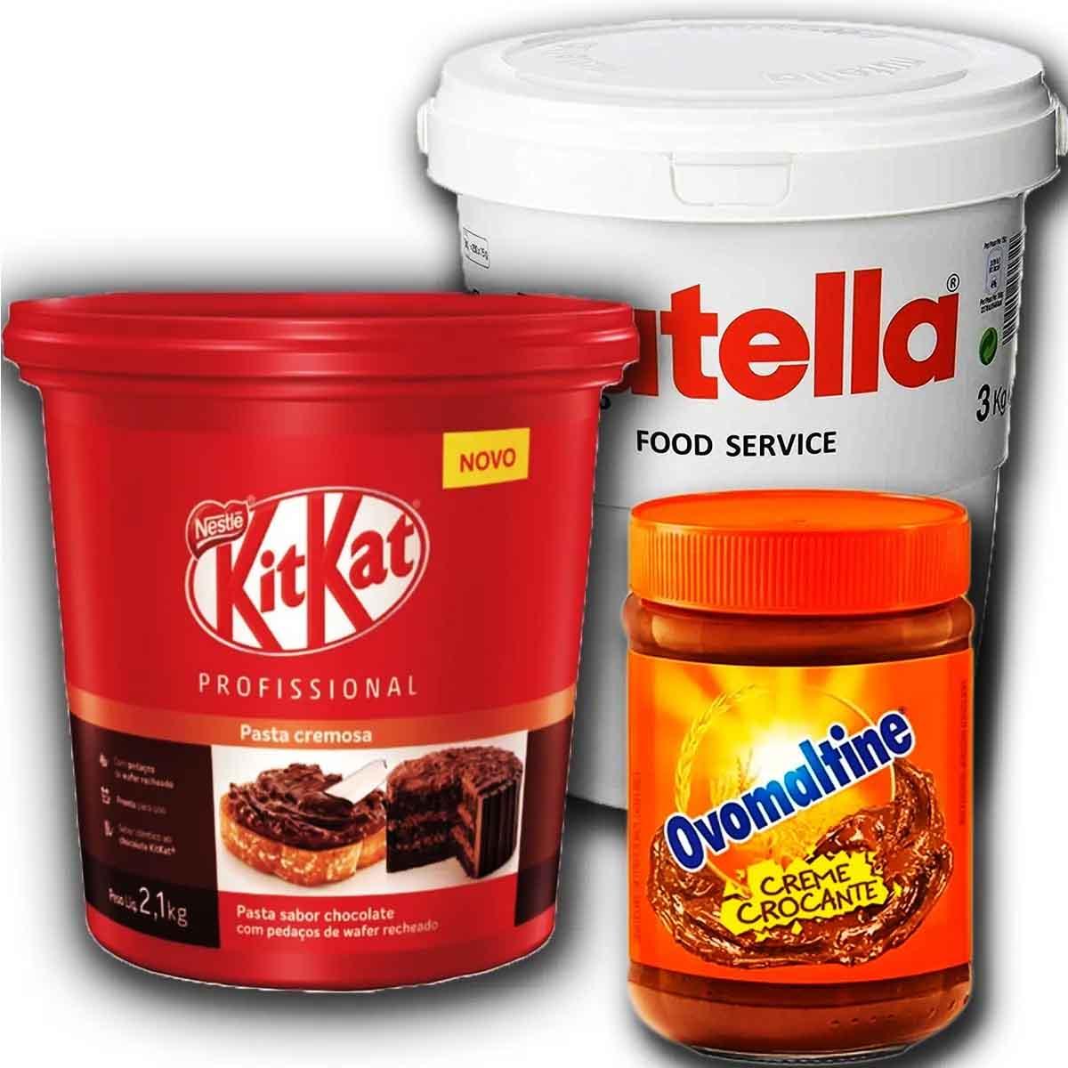 Creme Crocante Ovomaltine+ Pasta Kitkat 2,1kg + Nutella 3kg