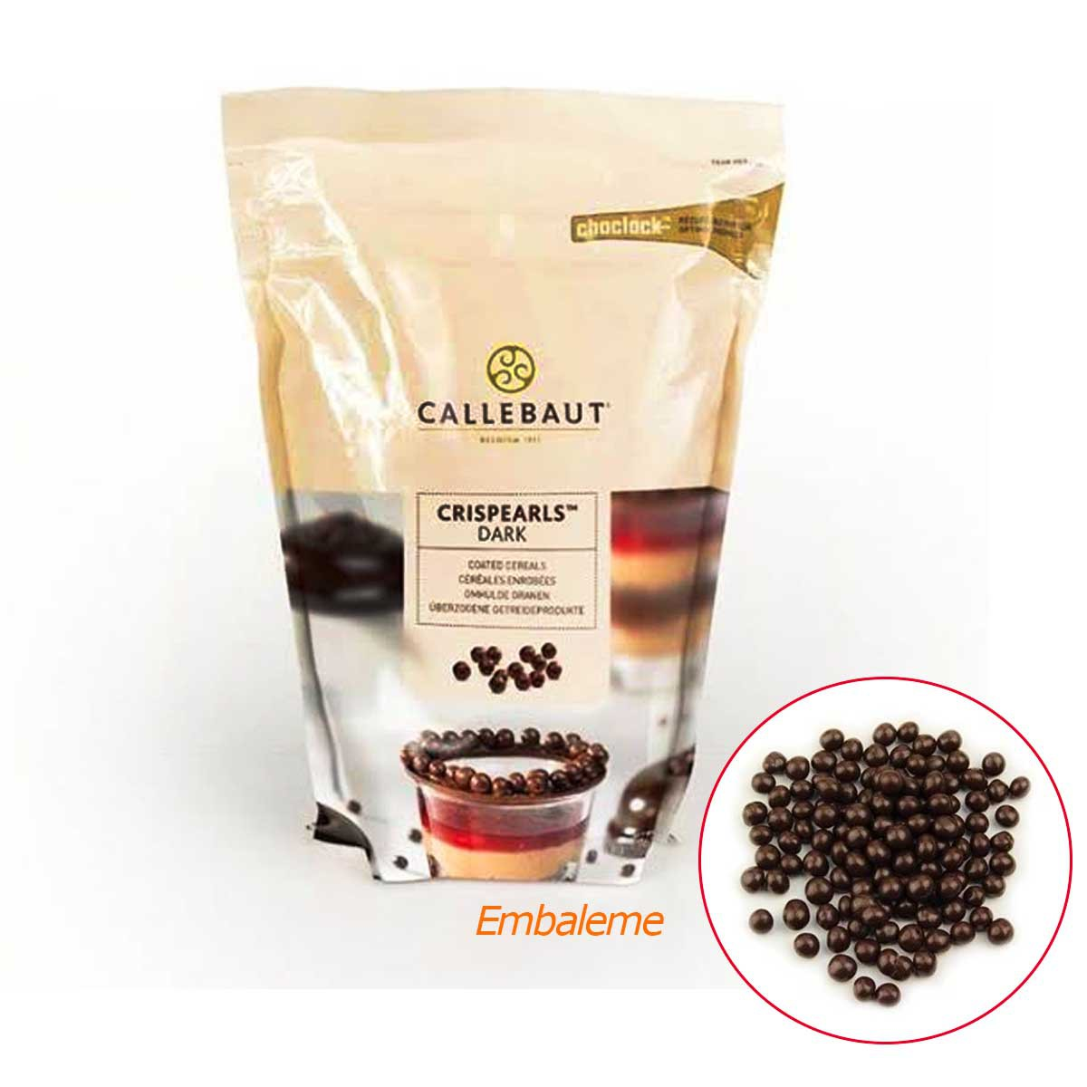 Crispearls Dark (Meio Amargo) chocolate belga cereal crocante Callebaut 800g
