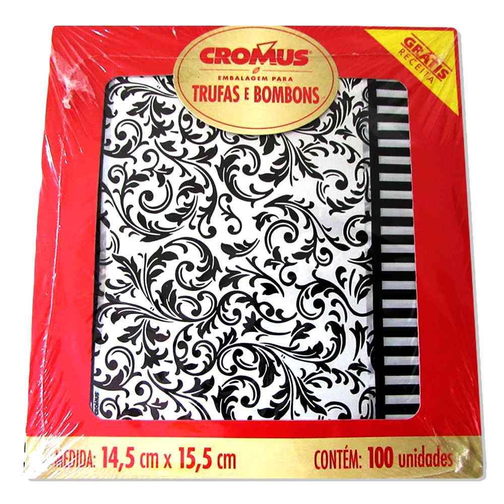 Embalagem para Trufas e Bombons Arebesco Preto e Branco  c/100 unidades 14,5cm x 15,5cm Cromus