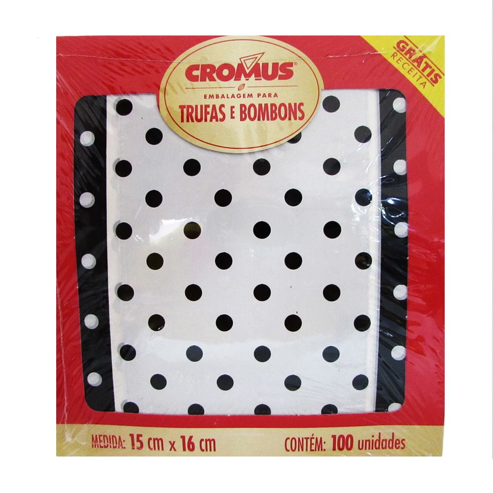 Embalagem para Trufas e Bombons Poa Preto e Branco c/100 Uni 15cm x 16cm Cromus