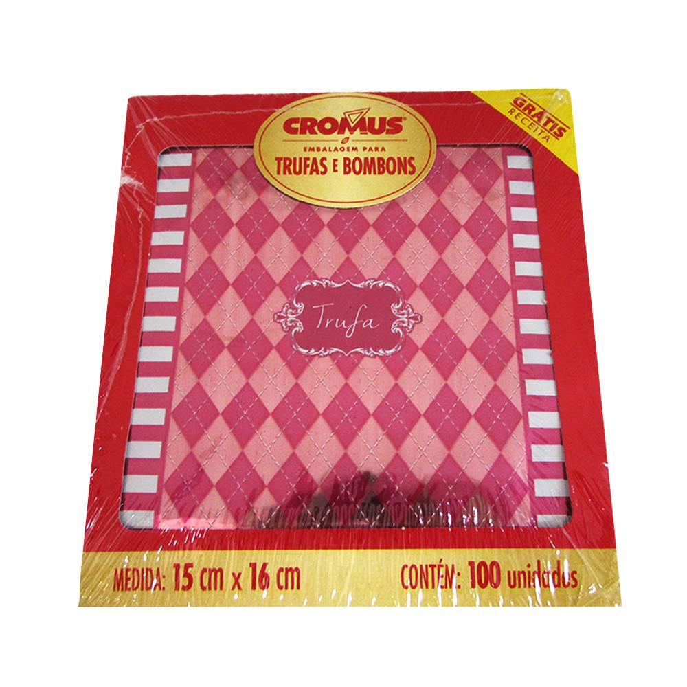 Embalagem para Trufas e Bombons Vichy Pink c/100 uni 15cm x 16cm Cromus